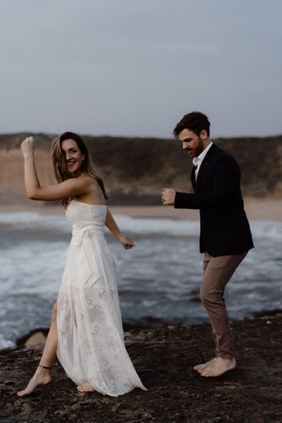 Couple having fun on Great Ocean Road Wedding