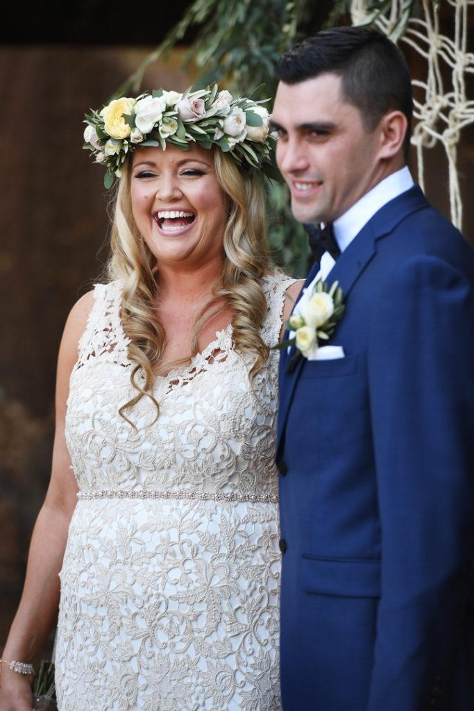 Happy couple at the Farm wedding