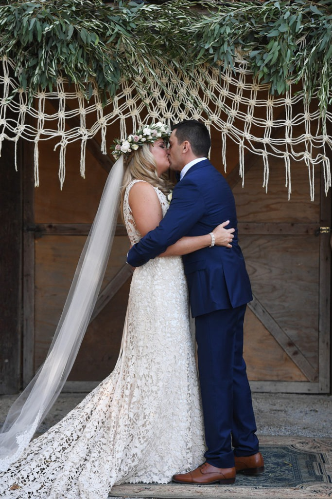Wedding kiss at the Farm