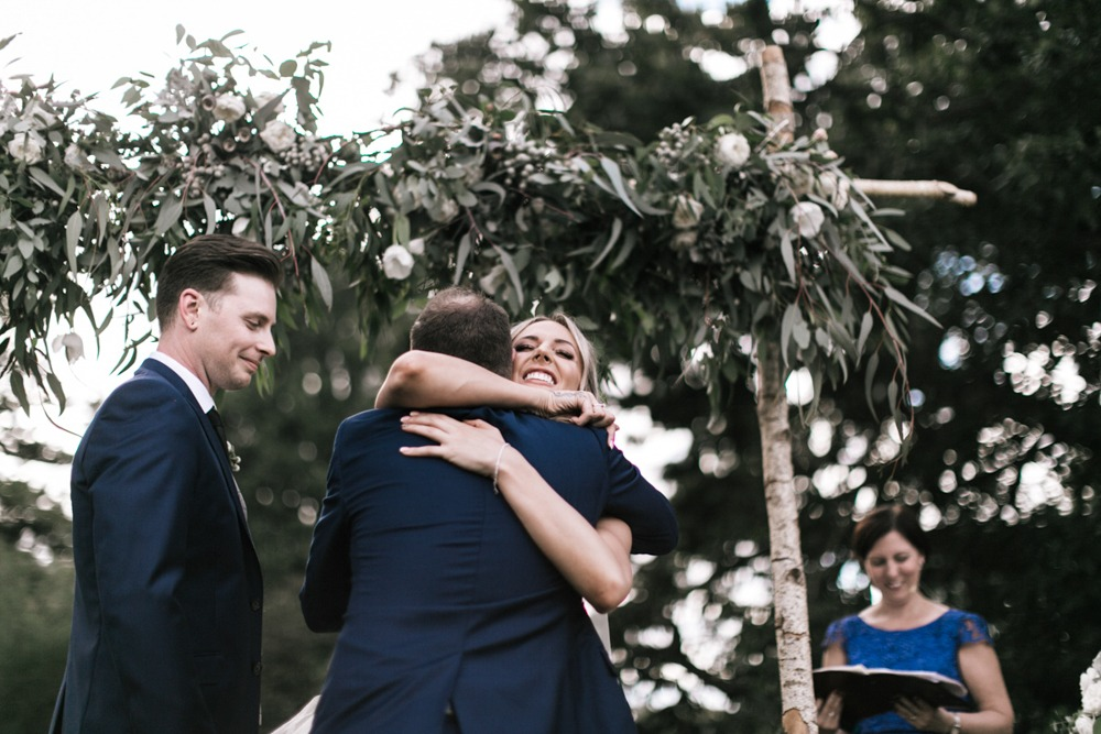 Ceremony hugs at Werribee Mansion