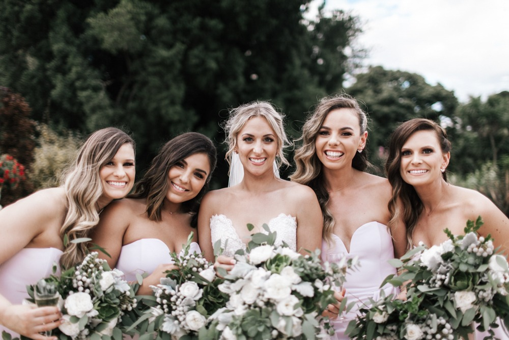 Bridal party at werribee mansion wedding