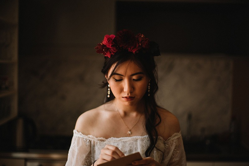 Bride preparing for fitzroy garden wedding