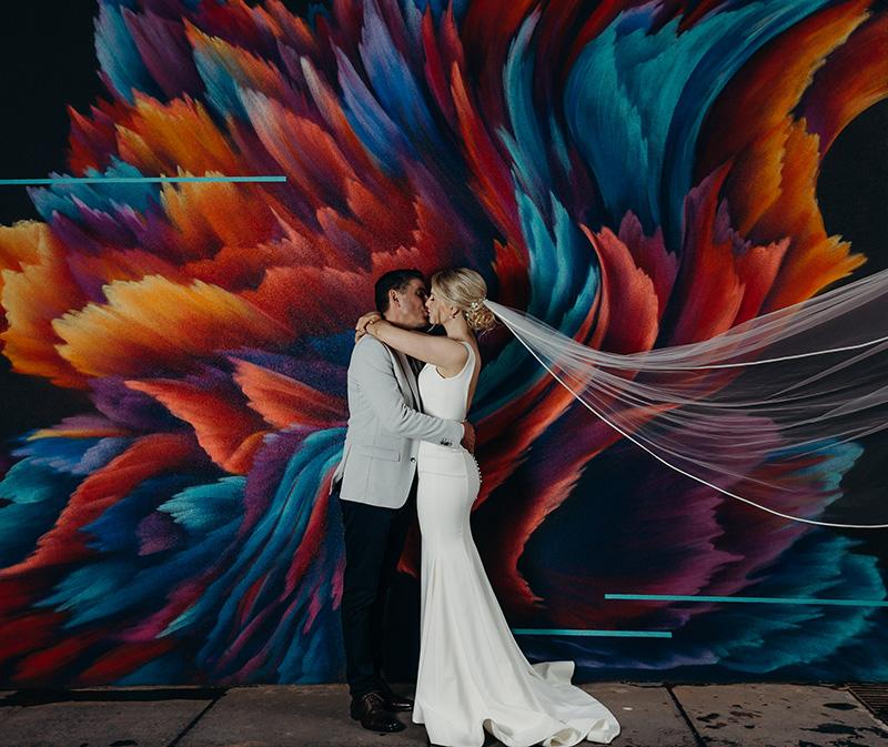 Bride & Groom graffiti laneway portrait