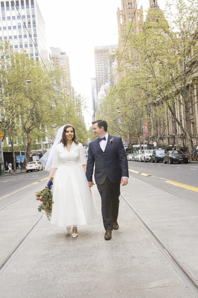 Elopements in Melbourne CBD couple portrait