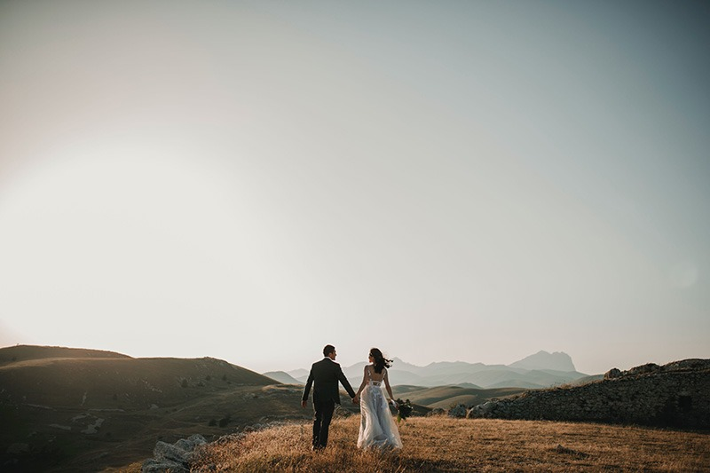 Bride & Groom on mountain elopement