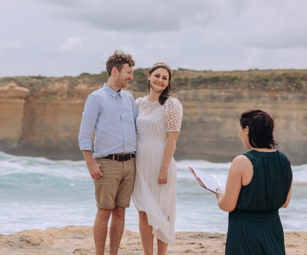 Happy couple getting married on Great Ocean Road