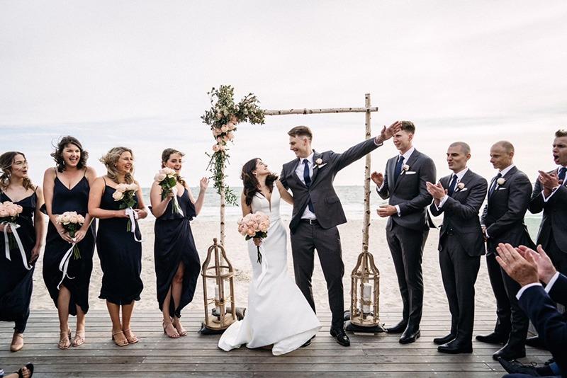 Wedding party at Sandbar Beach Cafe