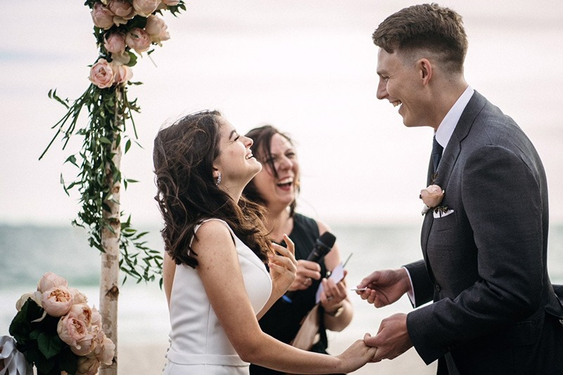 Couple getting married at beach