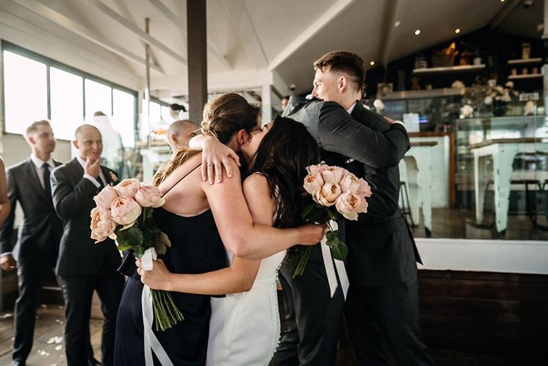 Post ceremony hugs