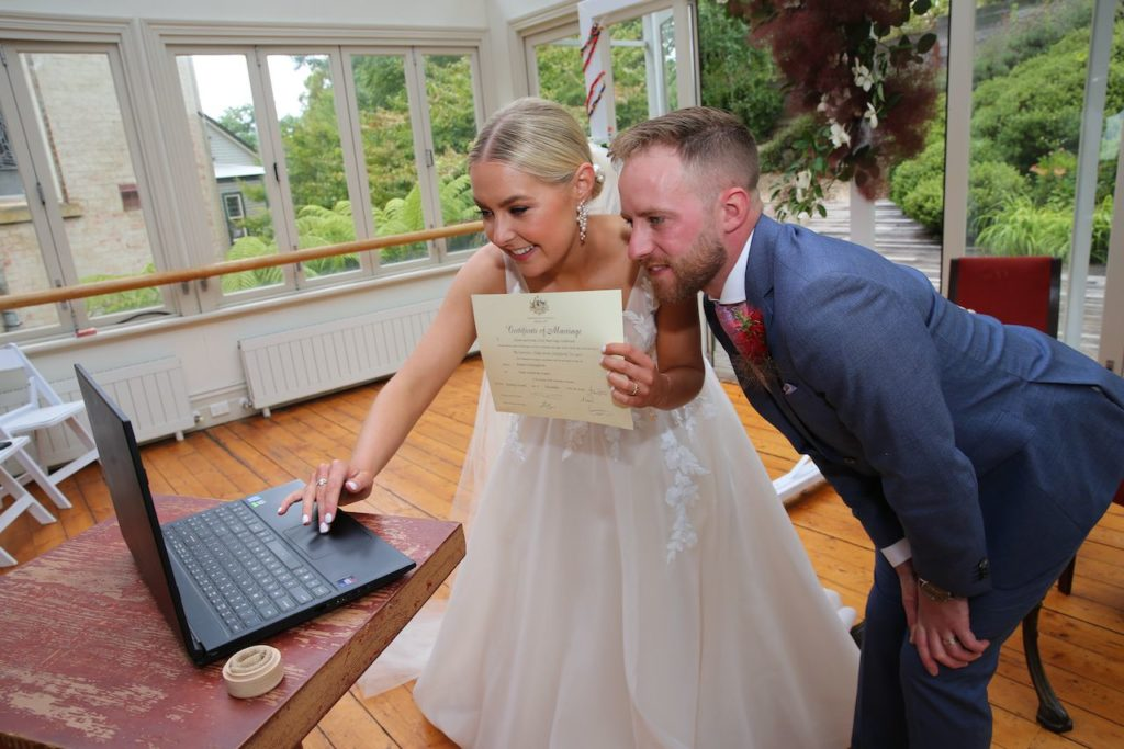 Bride and groom get married on zoom