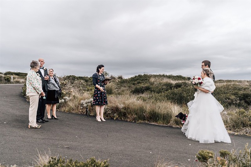 Small wedding ceremony on Great Ocean Road