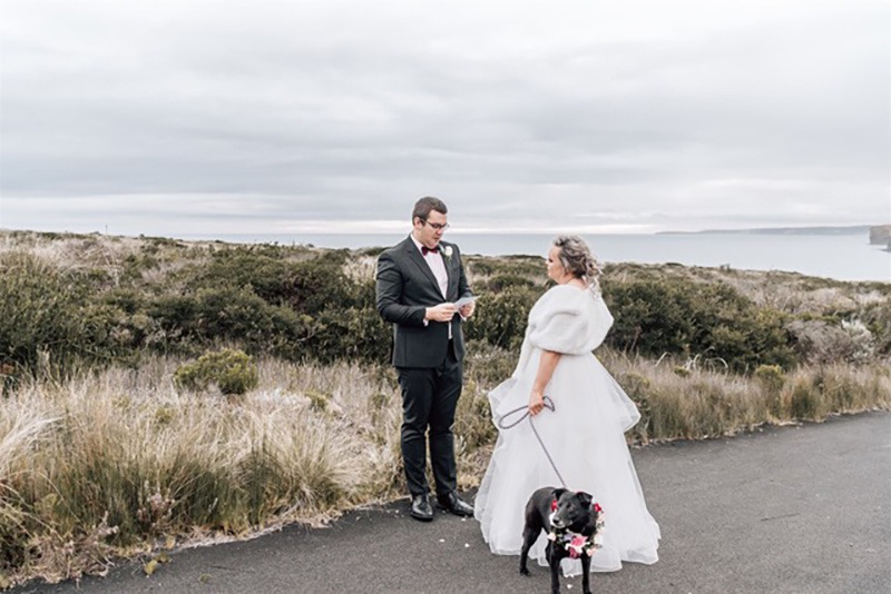 Couple exchanging vows on wedding day
