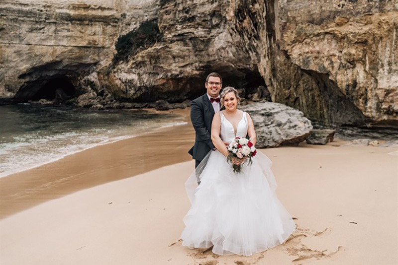 Couple on beach at wedding on Great Ocean Road