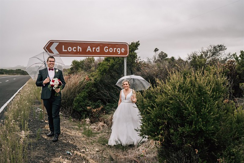 Couple at Loch Ard Gorge for their wedding