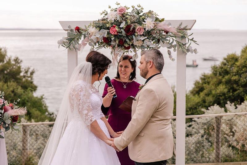 Couple and Celebrant at Mornington Peninsula wedding
