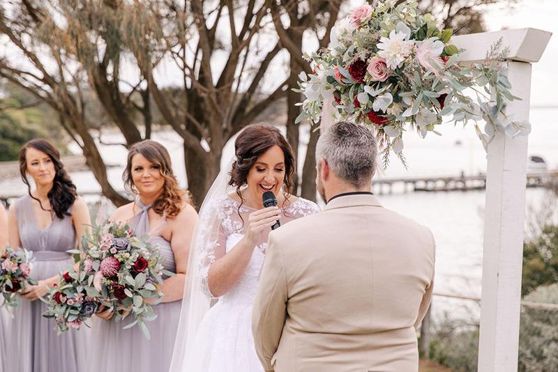 Couple making vows at Portsea Hotel Wedding