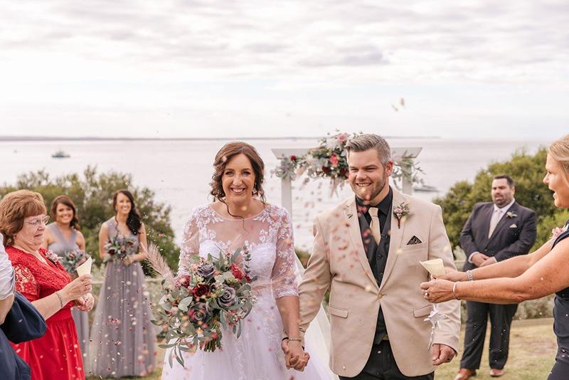 Couple on wedding day at Portsea Hotel