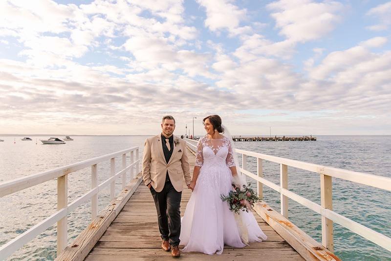 Couple at their Portsea Hotel Wedding