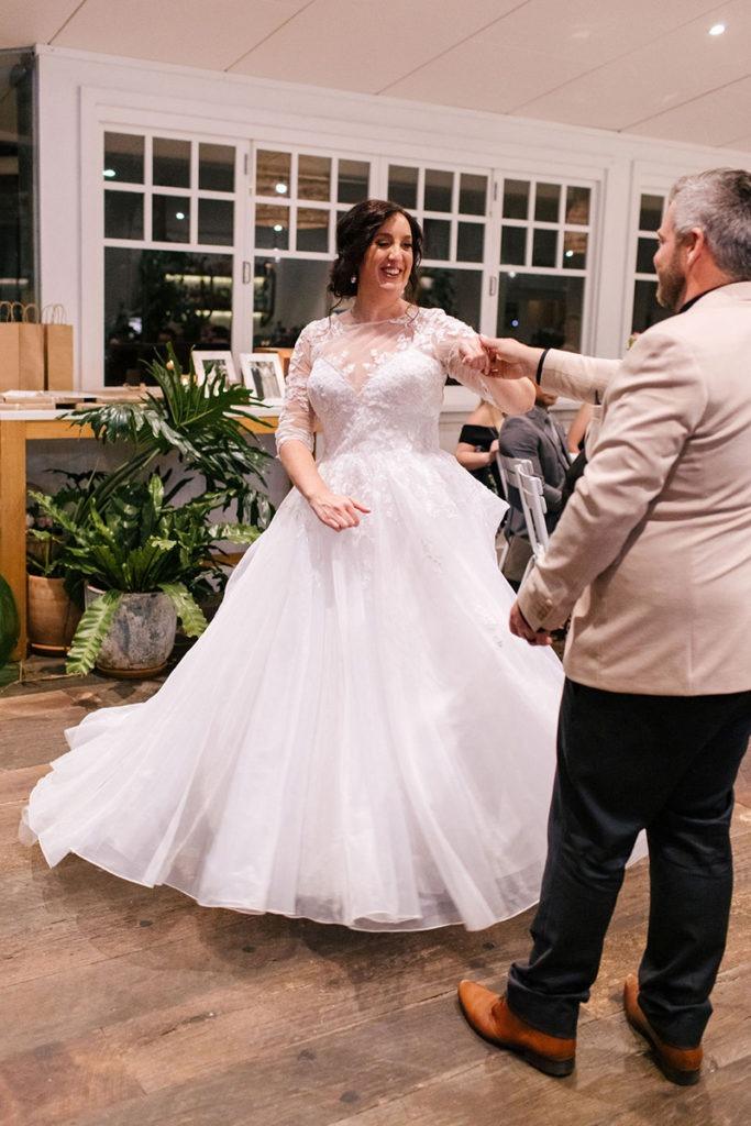 Couple dancing at Portsea Hotel wedding