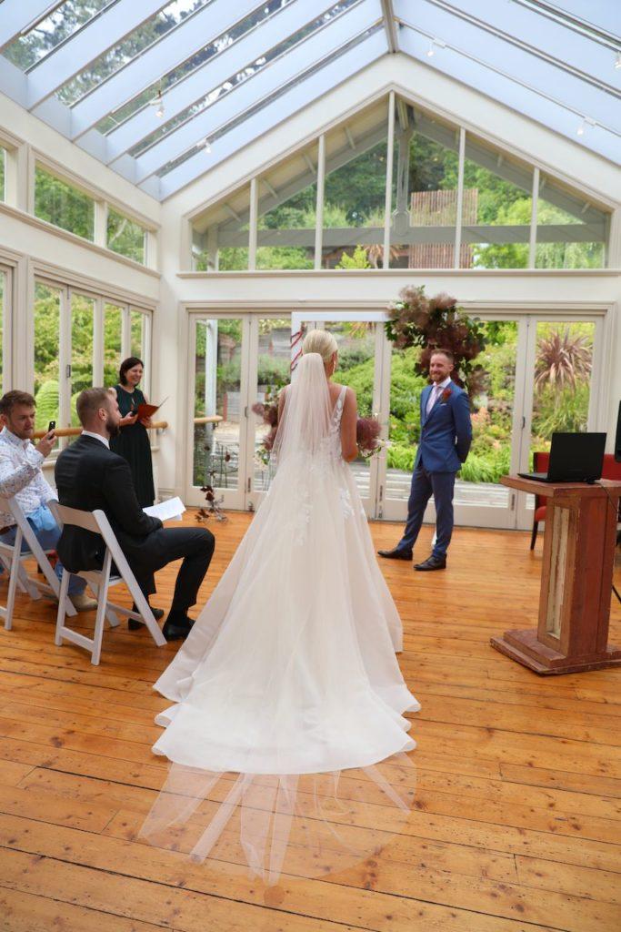 Bride walks down aisle on zoom