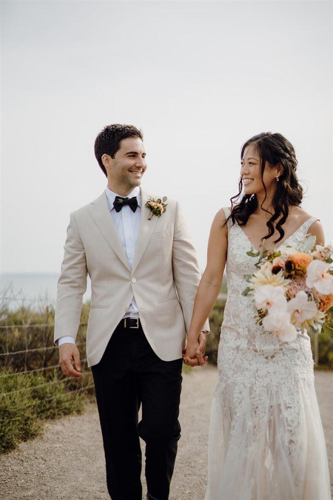 Couple at Basils farm wedding