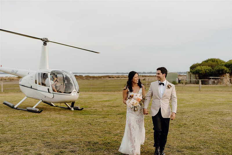 Helicopter arrives at Bellarine Peninsula Wedding