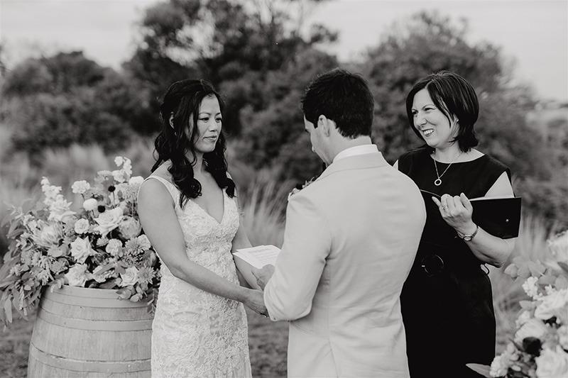 Couple exchanging vows at Bellarine Peninsula wedding