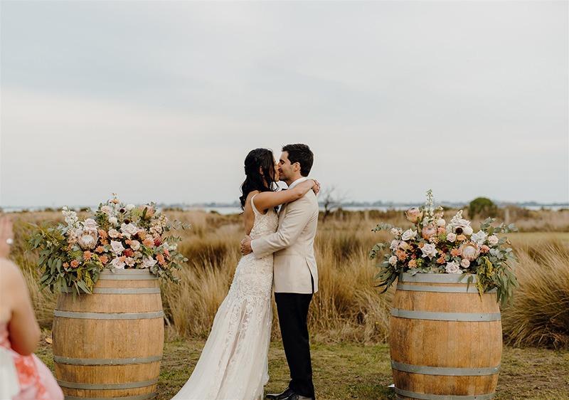 Couple kissing at Bellarine Peninsula wedding