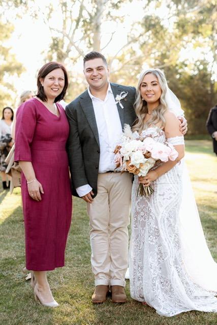 Wedding day couple with celebrant Fiona Garrivan